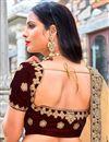 photo of Embroidered Maroon Bridal Lehenga Choli In Velvet Fabric