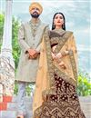 image of Embroidered Maroon Bridal Lehenga Choli In Velvet Fabric
