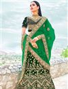 image of Velvet Dark Green Designer Lehenga Choli With Embroidery Designs