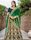 image of Dark Green Color Embroidered Bridal Lehenga Choli In Velvet Fabric