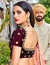 photo of Maroon Color Embroidered Velvet Wedding Wear Lehenga Choli