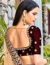 photo of Velvet Maroon Color Designer Lehenga Choli With Embroidery Designs