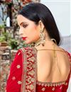 photo of Red Embroidered Velvet Wedding Wear Lehenga Choli