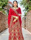 image of Red Embroidered Velvet Wedding Wear Lehenga Choli