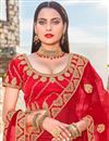 photo of Satin Silk Red Color Sangeet Wear 3 Piece Embroidered Lehenga Choli