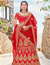 image of Satin Silk Red Color Sangeet Wear 3 Piece Embroidered Lehenga Choli