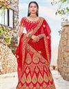 image of Embroidered Red Color Satin Silk Wedding Wear Lehenga Choli