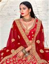 photo of Embroidery Work On Red Color Wedding Wear Lehenga Choli In Satin Silk