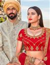 photo of Satin Silk Designer Bridal Lehenga In Red Color With Embroidery