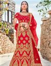 image of Satin Silk Designer Bridal Lehenga In Red Color With Embroidery