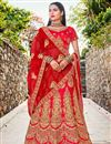 image of Embroidery Work On Red Color Wedding Wear Lehenga Choli In Satin Silk