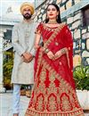 image of Satin Silk Reception Wear Red Color Lehenga With Embroidery