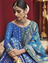 photo of Wedding Special Function Wear Art Silk Sky Blue Designer Saree With Jacquard Work