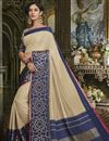 image of Cream Fancy Wedding Wear Traditional Saree In Cotton Silk