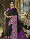 image of Wedding Function Wear Fancy Black Cotton Silk Saree