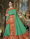 image of Cotton Silk Fancy Wedding Wear Traditional Saree In Sea Green