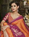 photo of Traditional Wear Orange Cotton Silk Fancy Saree