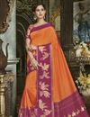 image of Traditional Wear Orange Cotton Silk Fancy Saree