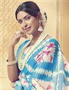 photo of Temple Wear Traditional Sky Blue Fancy Saree In Art Silk
