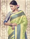 photo of Art Silk Fancy Wedding Wear Traditional Saree In Green