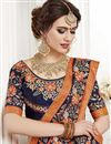 photo of Wedding Wear Georgette Salmon Color Embroidered Saree