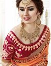 photo of Georgette Embroidered Orange Function Wear Fancy Saree