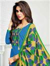 photo of Embellished Sky Blue Cotton Churidar Salwar Suit