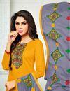 photo of Cotton Embroidered Mustard Straight Cut Churidar Dress