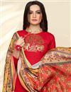 photo of Red Straight Churidar Dress In Cotton With Printed Dupatta