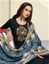 photo of Straight Cut Churidar Dress In Cotton Black With Printed Dupatta