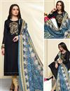 image of Straight Cut Churidar Dress In Cotton Black With Printed Dupatta