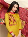 photo of Fancy Straight Cut Cotton Churidar Suit With Printed Dupatta
