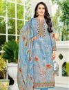 image of Karishma Kapoor Printed Casual Style Dress In Cotton Sky Blue