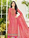 image of Karishma Kapoor Casual Printed Salwar Suit In Peach Cotton