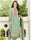 image of Karishma Kapoor Straight Cut Printed Dress In Cotton Sea Green