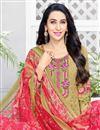 photo of Karishma Kapoor Casual Printed Salwar Suit In Cream Cotton Fabric