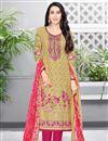 image of Karishma Kapoor Casual Printed Salwar Suit In Cream Cotton Fabric