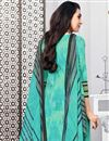 photo of Karishma Kapoor Straight Cut Printed Dress In Cotton Fabric Turquoise Color