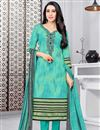 image of Karishma Kapoor Straight Cut Printed Dress In Cotton Fabric Turquoise Color
