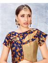 image of Designer Readymade Blouse In Jacquard Fabric Beige