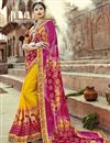image of Mustard Georgette Occasion Wear Bandhani Style Half N Half Saree