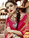 photo of Georgette Salmon Color Temple Wear Bandhani Style Half N Half Saree