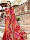 image of Georgette Salmon Color Temple Wear Bandhani Style Half N Half Saree