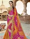 image of Festive Wear Georgette Bandhani Style Saree In Multi Color