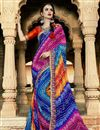 image of Georgette Blue Party Wear Bandhani Style Saree