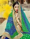 photo of Blue Party Wear Bandhani Style Half N Half Saree In Georgette