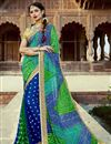 image of Blue Party Wear Bandhani Style Half N Half Saree In Georgette