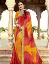 image of Georgette Designer Bandhani Style Saree In Orange