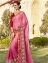 image of Pink Georgette Embellished Wedding Wear Designer Saree