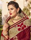 photo of Fancy Function Wear Georgette Maroon Saree With Heavy Work